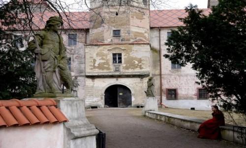 Zdjecie POLSKA / opolskie / Niemodlin / Dama z epoki, przed zamkiem