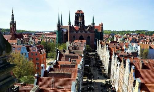 Zdjecie POLSKA / Gdańsk / Z wieży widokowej Muzeum Archeologicznego – tzw. Domu Przyrodników. / Ulica Mariacka