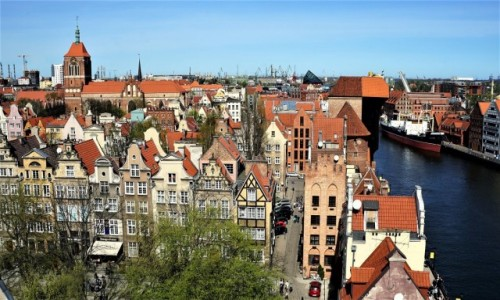 Zdjęcie POLSKA / Gdańsk / Z wieży widokowej Muzeum Archeologicznego – tzw. Domu Przyrodników. / Kamieniczki przy ulicy Świętego Ducha