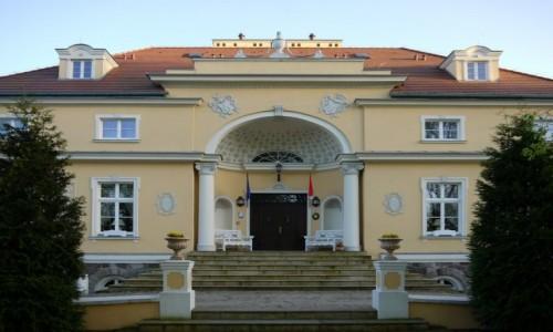 Zdjecie POLSKA / wielkopolskie / Bugaj / Wejście główne do pałacu