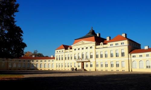 POLSKA / Wielkopolska / Rogalin, Pałac Raczyńskich / w porannym słońcu...