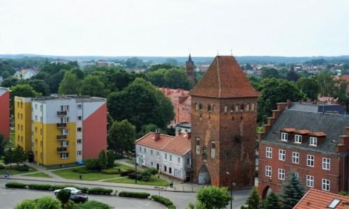 Zdjecie POLSKA / Prabuty / Widok z wieży Konkatedry św. Wojciecha / Gotycka Brama Kwidzyńska