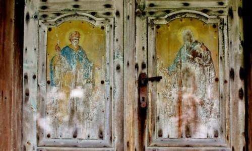 Zdjecie POLSKA / województwo lubelskie / Dłużniów / Malowidła na drzwiach