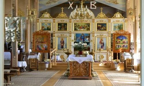 Zdjęcie POLSKA / woj.podlaskie. / pow. hajnowski. / Dubicze Cerkiewne - cerkiew Opieki Matki Bożej - ikonostas.
