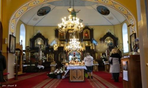 Zdjęcie POLSKA / woj.podlaskie. / pow. hajnowski. / Narew - Cerkiew Podwyższenia Krzyża Pańskiego - wnętrze.