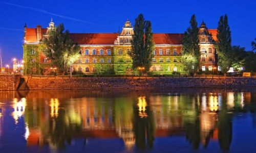 Zdjecie POLSKA / Wrocław / Muzeum Narodowe / Muzeum nocą