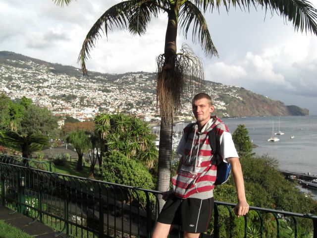 Zdj�cia: Madeira - Funchal, Palma, Ja i widok na miasteczko i port Funchal, PORTUGALIA