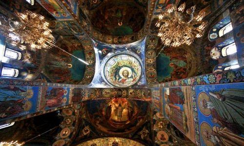 Zdjecie ROSJA / St. Petersburg / wnętrze Cerkwi na krwi / Sobór Zmartwychwstania Pańskiego