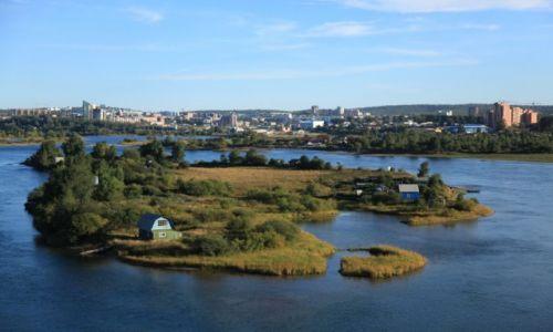 Zdjęcie ROSJA / Irkuck / Z nowego  mostu  / Wysepki na rzece Angara