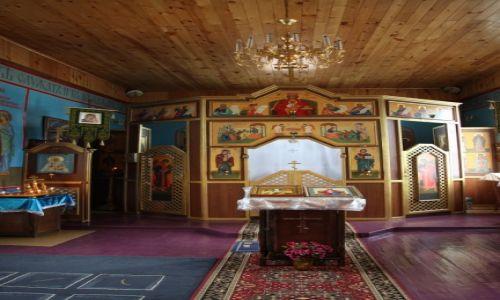 Zdjecie ROSJA / Bajkał, Olchon / Chużir / Cerkiew pod wezwaniem Matki Boskiej, wewnątrz
