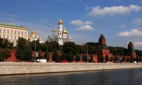 Zdjęcie ROSJA / Moskwa / rzeka Moskwa / Widok na Kreml od strony rzeki Moskwy
