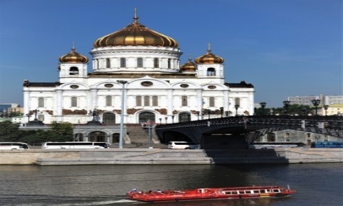 Zdjęcie ROSJA / Rzeka Moskwa / Kreml / Katedralny Sobór Chrystusa Zbawiciela