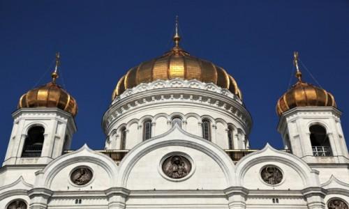 Zdjecie ROSJA / Rzeka Moskwa / Katedralny Sobór Chrystusa Zbawiciela / Kopuły
