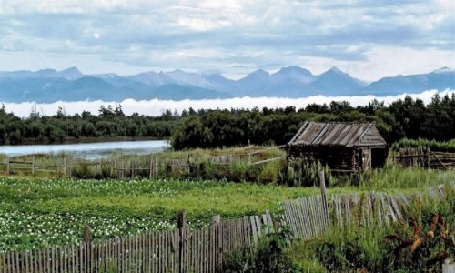 Zdjecie ROSJA / Kamczatka / Rzeka Kamczatka w okolicach Kozyrevska / Widok zza płota