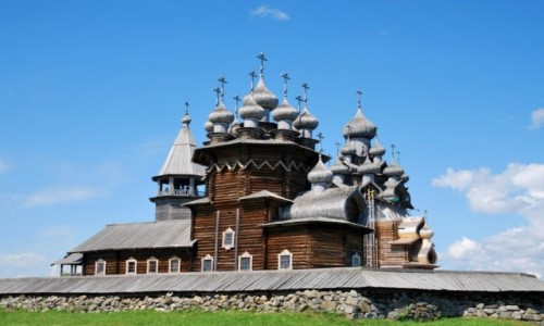 Zdjecie ROSJA / Karelia / wyspa Kiżi na jeziorze Onega / Cerkiew na wyspie Kiżi