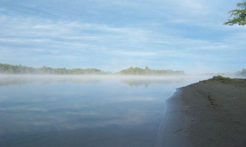 ROSJA / Syberia / rzeka Ob / mgliste poranki nad Obem