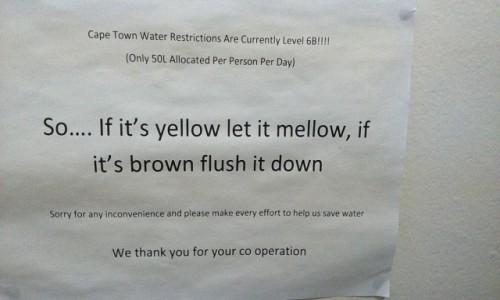 Zdjecie RPA / CapeTown / hostel / problemy z wodą w Kapsztadzie