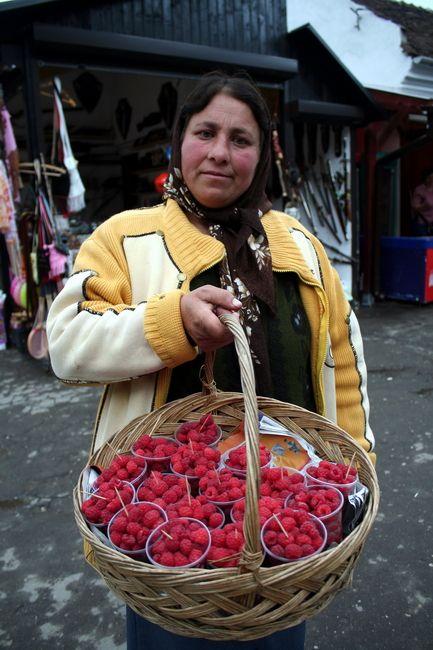 Zdjęcia: Bran, Transylwania, Sprzedawczyni malin, RUMUNIA