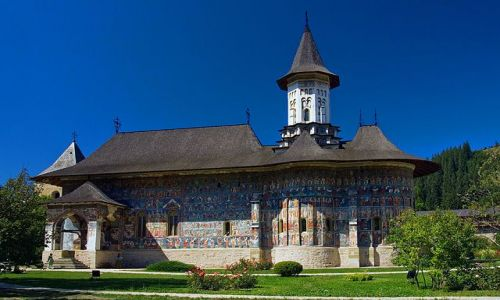 Zdjecie RUMUNIA / Bukowina / Sucevita / Malowana cerkiew w Monasterze Sucevita.