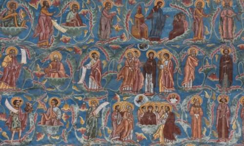 Zdj�cie RUMUNIA / Bukowina  / Monastyr Mo�dovita / Polichromie �cienne na zewn�trz cerkwi