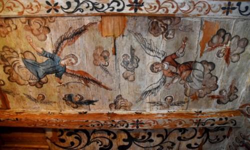 RUMUNIA / Maramuresz / Borsa / Malowid�a na stropie cerkwi �wi�tych Archanio��w w Borsie