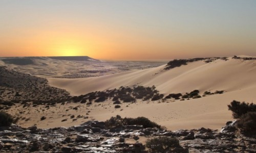 Zdjecie SAHARA ZACHODNIA /  Al-Ujun-As-Sakija al-Hamra. / w piaskach pustyni / Wieczór na klifie