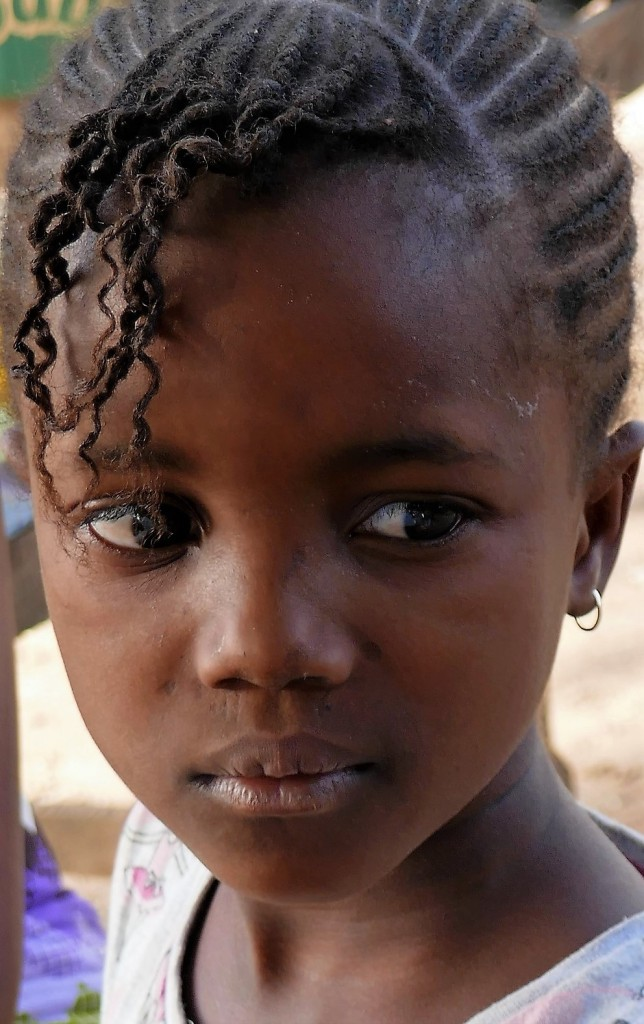 Zdjęcia: Kedougou, Południowo-wschodnia część Senegalu, Włascicielka warkoczyków en face, SENEGAL
