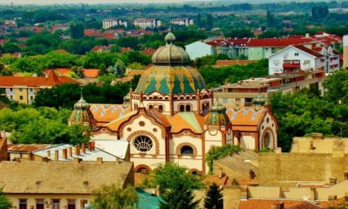 SERBIA / Vojvodina / Subotica / Subotica-synagoga z 1902 roku/widok z wieży ratusza/