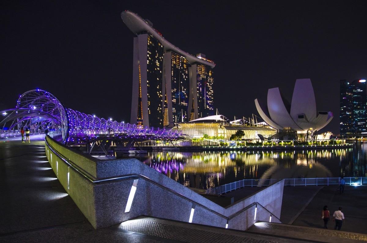 Zdjęcia: Marina Bay, Singapur, Nocne światła, SINGAPUR