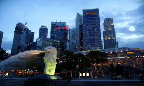 Zdjęcie SINGAPUR / Singapore / Singapore Bay / panorama o zmierzchu