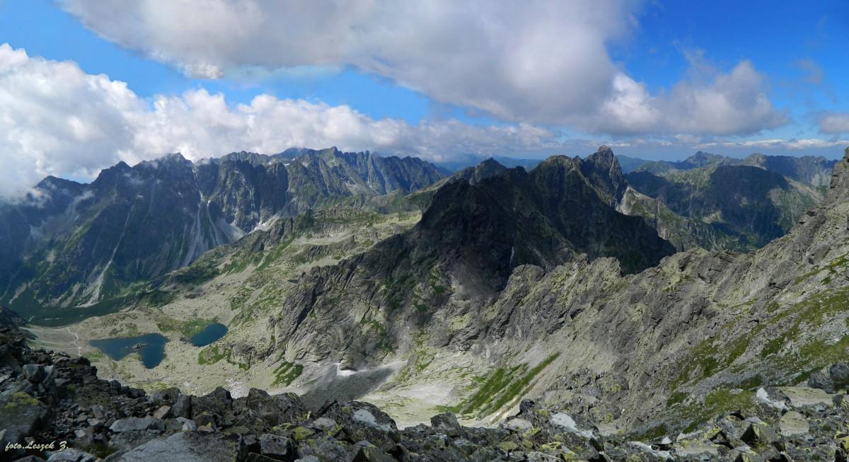 Zdjęcia: Szlak na Rysy 2503 m., Wysokie Tatry., Panorama ze szlaku na Rysy., SłOWACJA