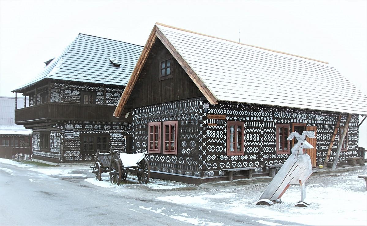 Zdjęcia: Skansen architektury ludowej, Żylina, W zimowej scenerii, SłOWACJA
