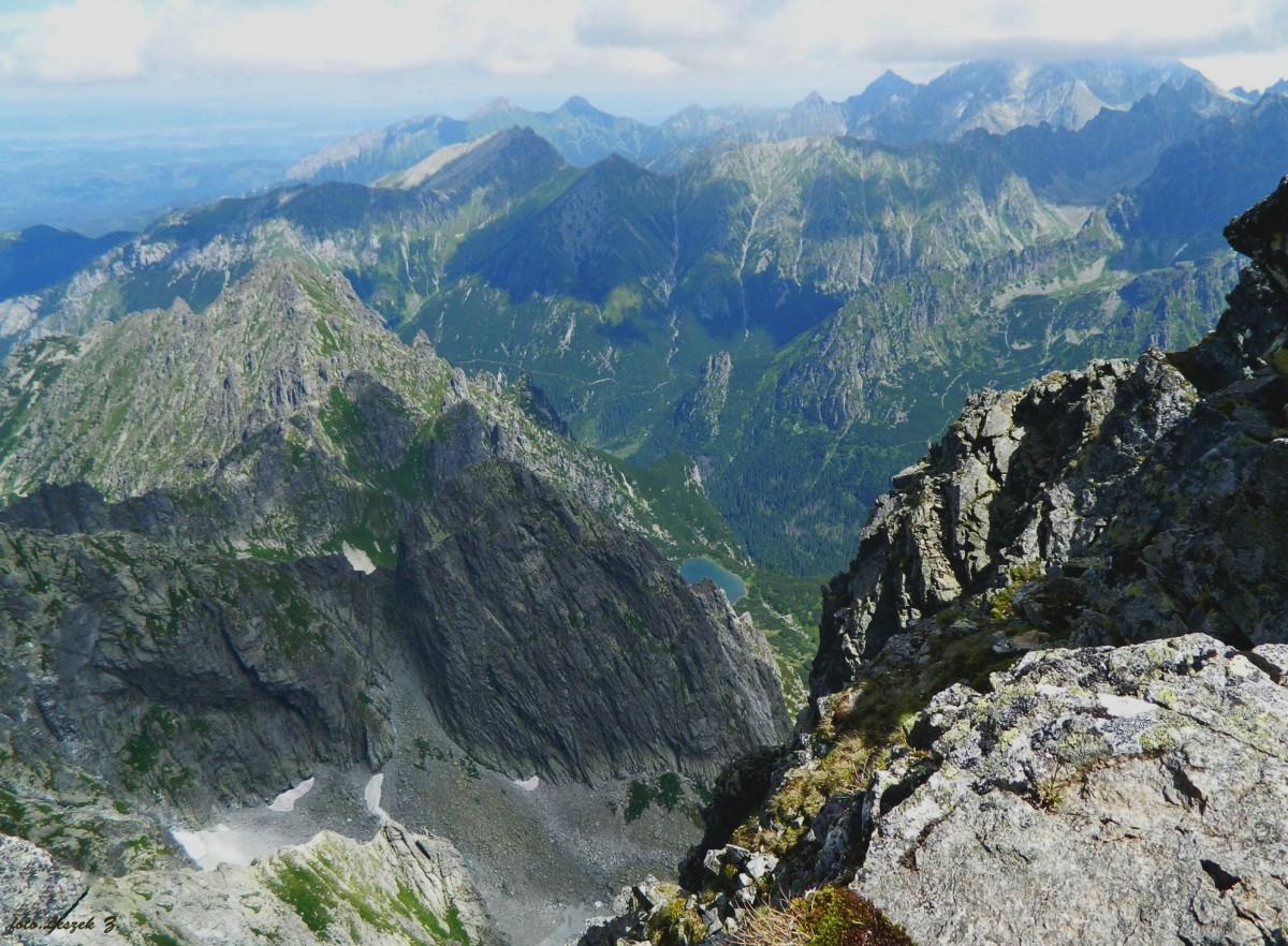 Zdjęcia: Rysy 2503 m., Wysokie Tatry., Widok ze Słowackich Rysów w stronę Tatr Bielskich., SłOWACJA