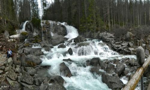 Zdjecie SłOWACJA / Wysokie Tatry. / Wodospady Zimnej Wody. / Wodospady Zimnej Wody - Wodospad Wielki z dołu.