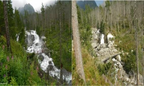 SłOWACJA / Wysokie Tatry. / Wodospady Zimnej Wody. / Wielki Wodospad w lipcu i we wrześniu.