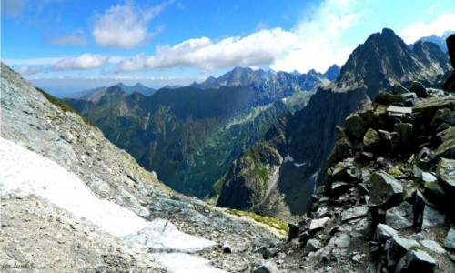 SłOWACJA / Wysokie Tatry. / Przełęcz Waga. (Waha).2337 m. / Widok z Przełęczy Waga.(Waha)