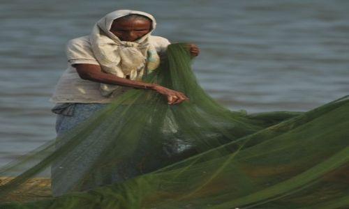 Zdjęcie SRI LANKA / Negombo / Port rybacki / Sprawdzanie sieci