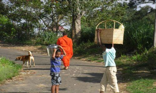 Zdjecie SRI LANKA / KANDY / Droga prowadzaca do klasztoru  / Wykorzystywanie dzieci
