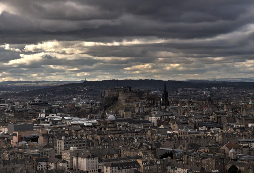 Zdjęcia: Edynburg, Widok na zamek i miasto, SZKOCJA