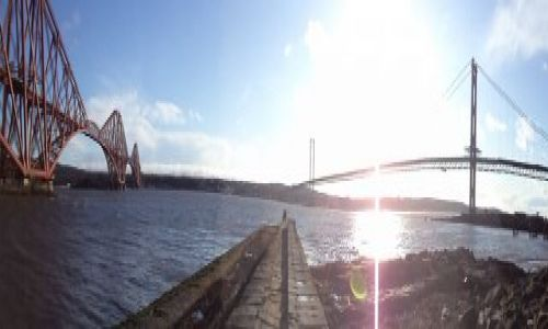 Zdjecie SZKOCJA / South Queensferry / Zatoka Firth of Forth / Forth Rail  & Road Bridges