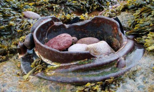 Zdjęcie SZKOCJA / poludnio - wschodnie wybrzeze Szkocji / Dunbar / metalowe elementy  konstruksji  dawnego basenu