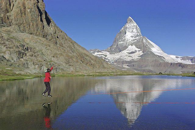 Zdjęcia: Zermatt, Alpy Walijskie, Spacer po linie , SZWAJCARIA