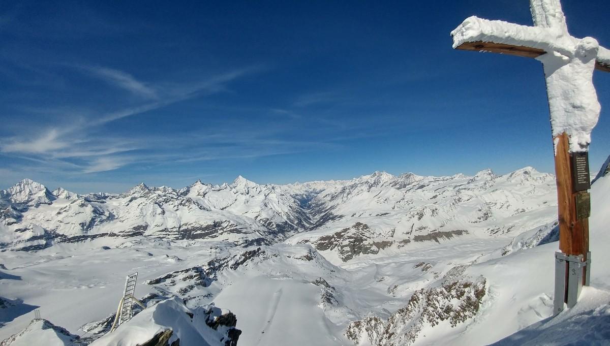 Zdjęcia: Klein Matterhorn, Valais, Widok na najwyższe szczyty Alp, SZWAJCARIA