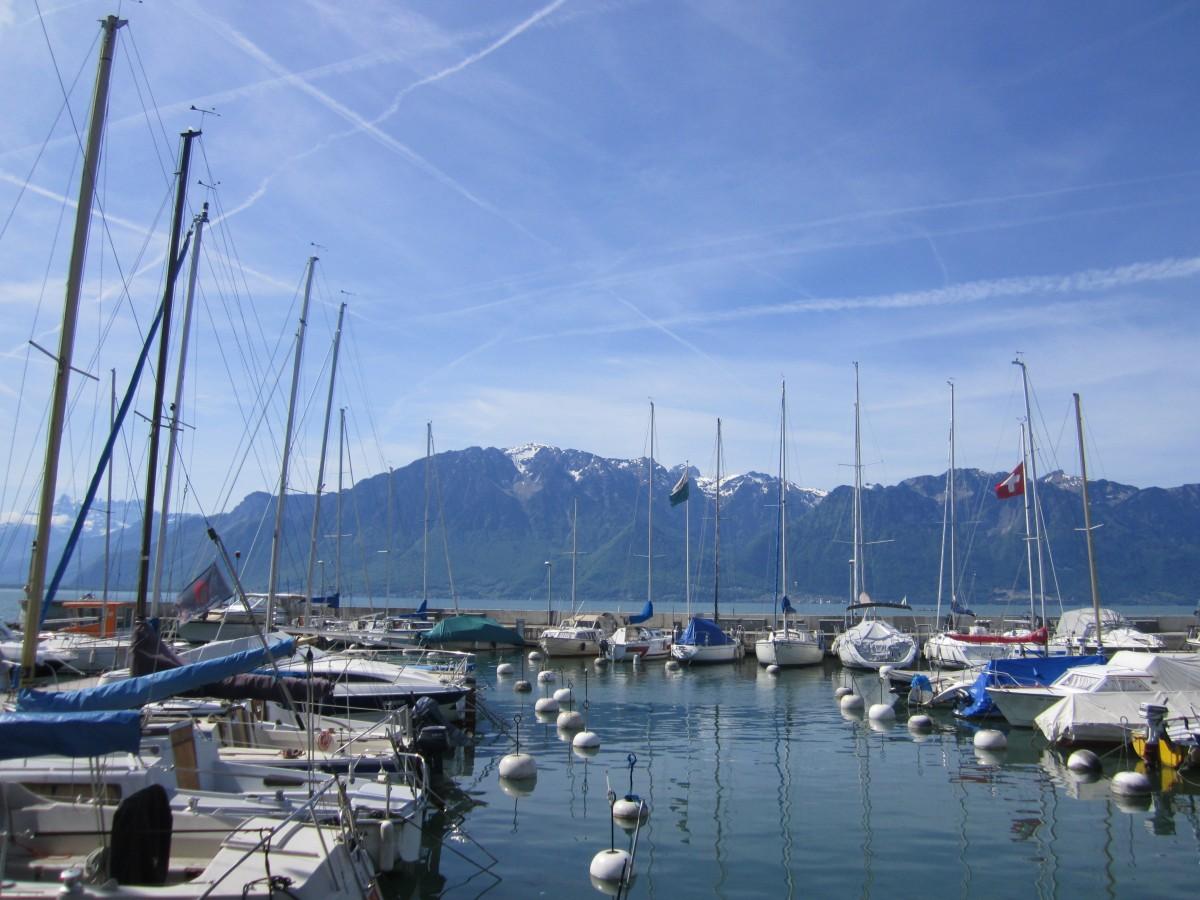 Zdjęcia: Vevey, Vaud, Przystań na Jeziorze Genewskim, SZWAJCARIA