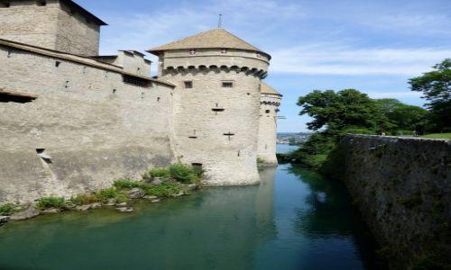 Zdjęcie SZWAJCARIA / Vaud / Montreux-Jezioro Genewskie / fosa wokół zamku Chillon