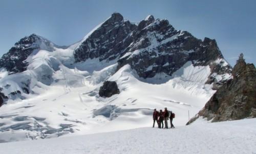 Zdjecie SZWAJCARIA / Alpy Berneńskie / Rottalhorn (3972 m. npm), Jungfrau (4158 m. npm), Sphinx (3571 m. npm) / Z przełęczy Jun