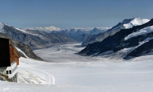 SZWAJCARIA / Alpy Berneńskie / Lodowiec Aletsch / Z przełęczy Jungfraujoch