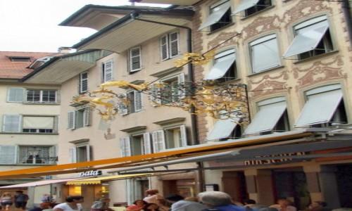 """Zdjęcie SZWAJCARIA / Kanton Lucerna / Lucerna / Stylowy szyld restauracji """"Hirschen"""""""