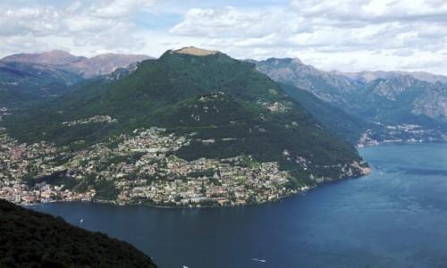 Zdjecie SZWAJCARIA / Lugano / Monte San Salvatore / Widok na Monte Brè (925 m) i Monte Boglia (1,516 m)