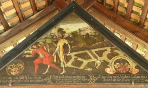 Zdjecie SZWAJCARIA / kanton Lucerna / na brzegu jeziora Czterech Kantonów / Jeden z obrazów Danse Macabre umieszczonych w Spreuer Bridge